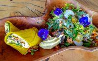 Rohkost Frühstück Kürbis Frühstückswrap mit Avocado Cashew Scramble Rohkost Wrap